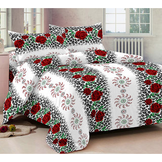 Bedspun 100 Cotton Multicolor 1 Double Bedsheet With 2 Pillow Cover-Mg1296-Bs