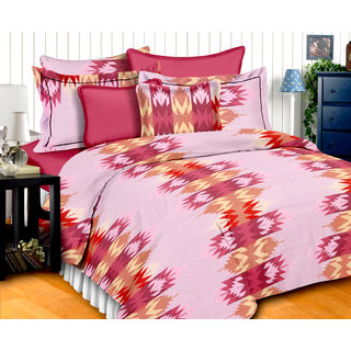 Bedspun 100 Cotton Pink 1 Double Bedsheet With 2 Pillow Cover-Mg1401-Bs