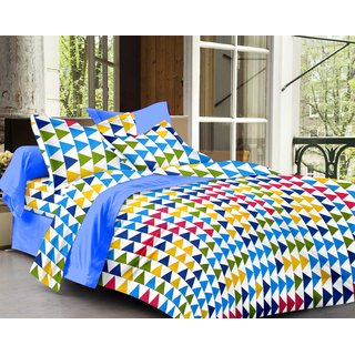 Bedspun 100 Cotton Multicolor 1 Double Bedsheet With 2 Pillow Cover-Mg1404-Bs