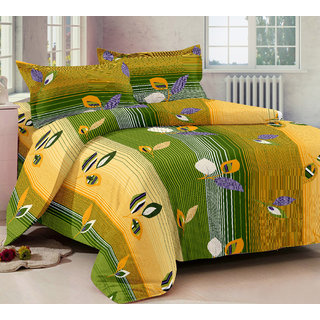 Bedspun 100 Cotton Yellow And Green 1 Double Bedsheet With 2 Pillow Cover-Mg1412-Bs