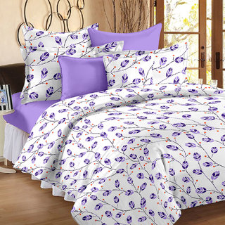Bedspun 100 Cotton White 1 Double Bedsheet With 2 Pillow Cover-Mg1415-Bs