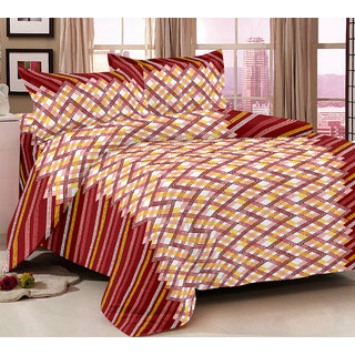Bedspun 100 Cotton Maroon 1 Double Bedsheet With 2 Pillow Cover-Mg1418-Bs
