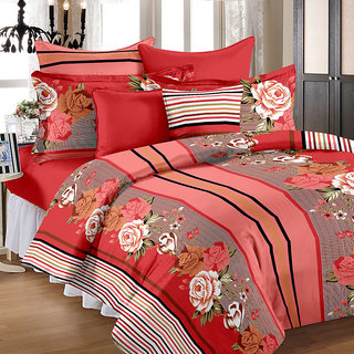 Bedspun 100 Cotton Red 1 Double Bedsheet With 2 Pillow Cover-Mg1419-Bs