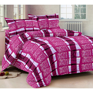 Bedspun 100 Cotton Pink 1 Double Bedsheet With 2 Pillow Cover-Mg1422-Bs
