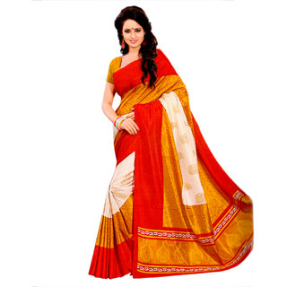 Miraan Multicolor Art Silk Printed Saree With Blouse
