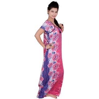Kismat Fashion Pink Cotton long Nighty Kn19