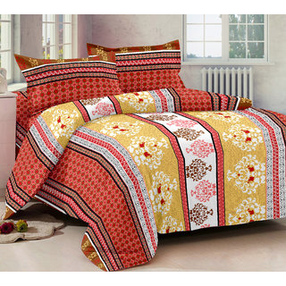 Bedspun 100 Cotton Red 1 Double Bedsheet With 2 Pillow Cover-Mg1423-Bs