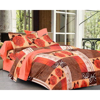 Bedspun 100 Cotton Peach 1 Double Bedsheet With 2 Pillow Cover-Mg1425-Bs