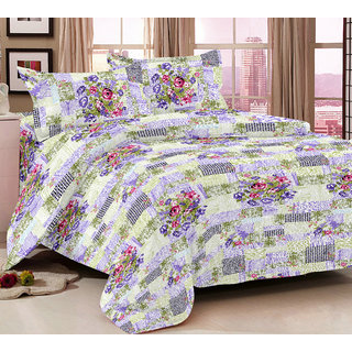 Bedspun 100 Cotton Multicolor 1 Double Bedsheet With 2 Pillow Cover-Mg1429-Bs