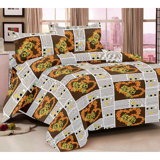Bedspun 100 Cotton Brown 1 Double Bedsheet With 2 Pillow Cover-Mg1432-Bs