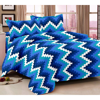 Bedspun 100 Cotton Blue 1 Double Bedsheet With 2 Pillow Cover-Mg1439-Bs