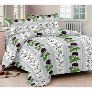 Bedspun 100 Cotton White 1 Double Bedsheet With 2 Pillow Cover-Mg1442-Bs