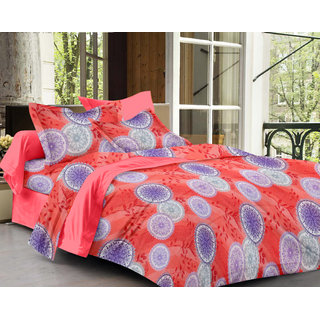 Bedspun 100 Cotton Peach 1 Double Bedsheet With 2 Pillow Cover-Mg1445-Bs
