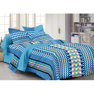 Bedspun 100 Cotton Blue 1 Double Bedsheet With 2 Pillow Cover-Mg1448-Bs