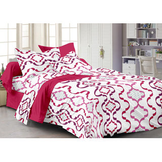 Bedspun 100 Cotton White 1 Double Bedsheet With 2 Pillow Cover-Mg1458-Bs