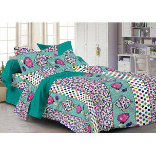Bedspun 100 Cotton Multicolor 1 Double Bedsheet With 2 Pillow Cover-Mg1464-Bs