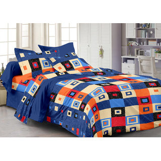 Bedspun 100 Cotton Blue 1 Double Bedsheet With 2 Pillow Cover-Mg1457-Bs