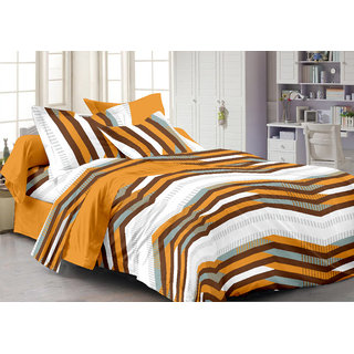 Bedspun 100 Cotton Mustard 1 Double Bedsheet With 2 Pillow Cover-Mg1455-Bs