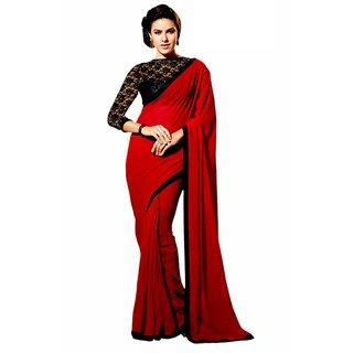 Bhuwalfashion Designer Red Colour Semi Georgette Saree-Angel Red