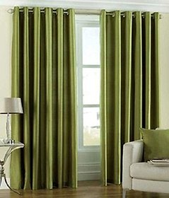 Geo Nature Green Polyster Door Curtains Set Of 2 (G2CR7F-4)