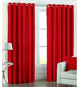Geo Nature Red Polyster Door Curtains Set Of 2 (G2CR7F-9)