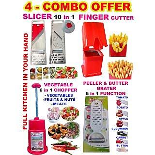 57920bb45e3 4 Combo Finger Potato Chips Cutter + Slicer + Vegetable Chopper + Peeler