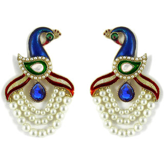 Peacock Pattern Designer Earring By Zaveri Pearls