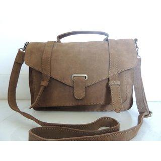 Beige Suede Leather Handbag
