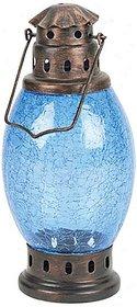 Metal Glass Lantern (Blue)