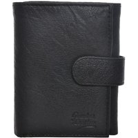 Fashno Tri fold Mens Genuine Leather Black Wallet (AH - 3F)