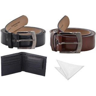 Fashno Combo of Black and  Brown Belt with Leather Wallet  Handkerchief