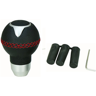 Takecare Black Stainless Steel & Leather Gear Knob For Volkswagen  Polo