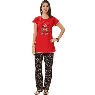 King Keshore Knits Womens Animal Print Top  Pyjama Set