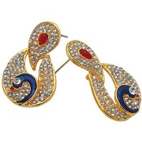 Kriaa Austrian Stone Blue  Maroon Peacock Gold Finish Earrings - 1306310