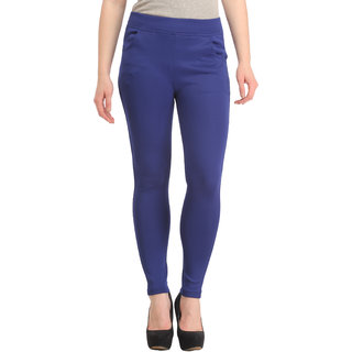 Skyline Women's Blue Mid Waist Skinny Fit Polyester Tregging