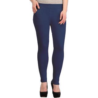 Skyline Women's Navy Blue Mid Waist Skinny Fit Polyester Tregging