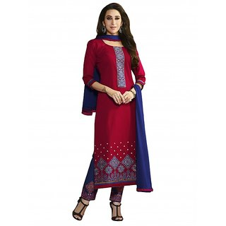 BanoRani Red & Blue Color Cotton Embroidered UnStitched Dress Material (Plazzo) K-1425