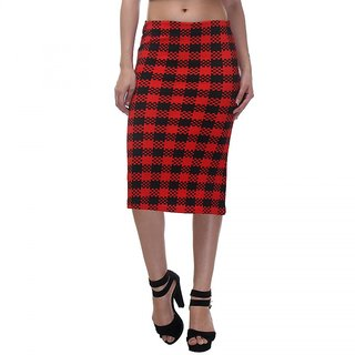 ZOYSIA Red and Black Checkered Mid-calf Length Pencil Skirt