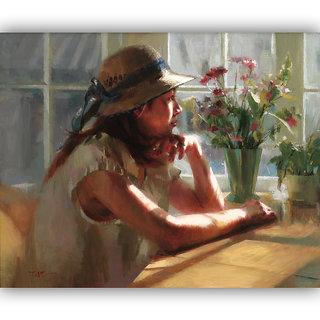 Vitalwalls Portrait Painting Canvas Art Print.Western-213-60cm