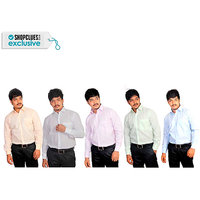 Grahakji Men's Comfort Fit Formal Shirt (Pack of 5)