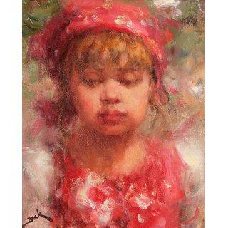 Vitalwalls Portrait Painting Canvas Art Print,Wooden Frame.Western-060cm-F-45cm