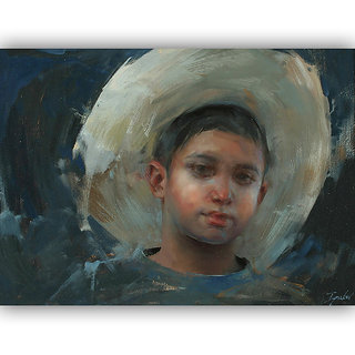 Vitalwalls Portrait Painting Canvas Art Print,Wooden Frame.Western-074-F-30cm