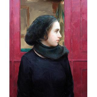 Vitalwalls Portrait Painting Canvas Art Print,Wooden Frame.Western-075-F-30cm