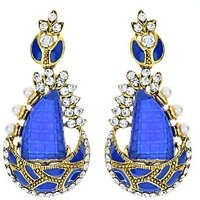 Kriaa Blue Meenakari Austrian Stone Gold Finish  Pearl Earrings - 1306219