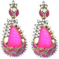 Kriaa Meenakari Austrian Stone Gold Finish Pink Pearl Earrings - 1306220