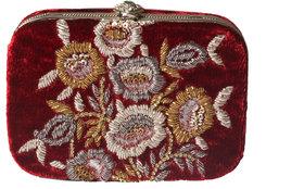 Maroon, Gold  Silver Handbag