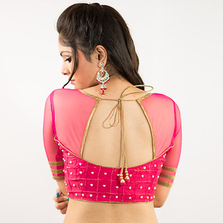 e0475a0e61abe6 Buy Intrigue Pink Net   Polycotton Semi Stitched Blouse Online - Get ...
