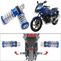 Capeshoppers Spring Coil Style Bike Foot Pegs Set Of 2 For Bajaj Pulsar 220 Dtsi-Blue