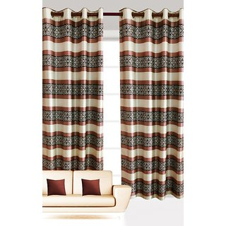 India Furnish New Collection  New Horizontal Stripes And Abstract Design Brown Color Polyester Curtain (Set of 2 Pcs) 84x48