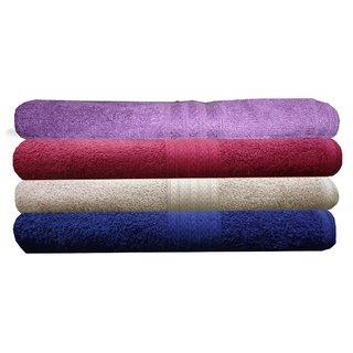 India Furnish 100 Cotton Soft Towel Set 450 GSM,Set of 4 Pcs ,Size 60 cm x 120 cm-Purple,Maroon,Biscuit  Navy Blue  Color